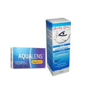 Aqualens Aspheric Μηνιαίοι Φακοί Επαφής (3 τεμ.) & One Solution Διάλυμα Απολύμανσης & Ενυδάτωσης Πολλαπλών Χρήσεων για Φακούς Επαφής(360ml)
